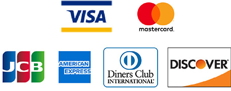 VISA,mastercard,JCB,AMERICAN EXPRESS,Diners Club INTERNATIONAL,DISCOVER