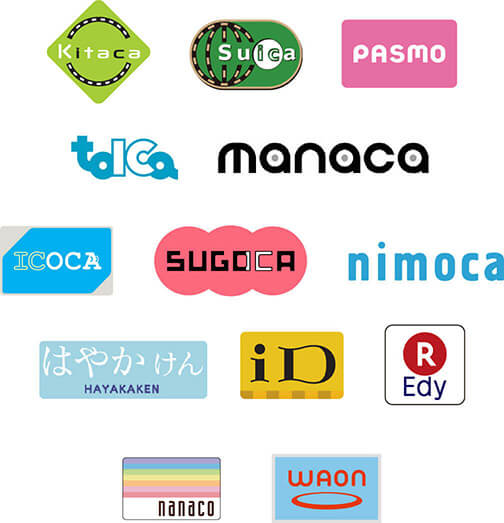 Kitaca,Suica,PASMO,TOICA,manaca,ICOCA,SUGOCA,nimoca,HAYAKAKEN,iD,R Eday,nanaco,waon